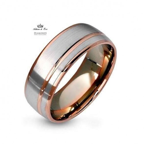 White and Dark Pink Gold Wedding Rings AED7217V Adam Eve DIAMONDS